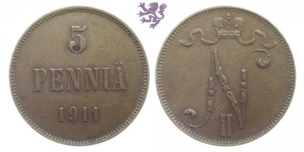 5 Penniä, 1911.