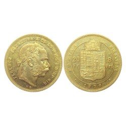 20 Francs / 8 Forint, 1879.