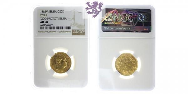 20 dinara, 1882. NGC
