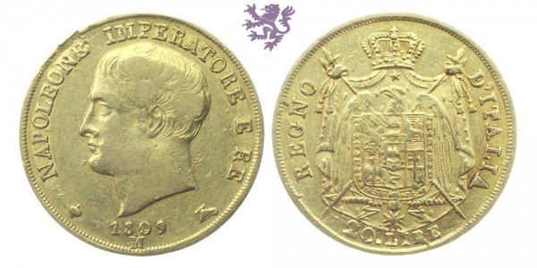 20 Lire, 1908. Napoleon I