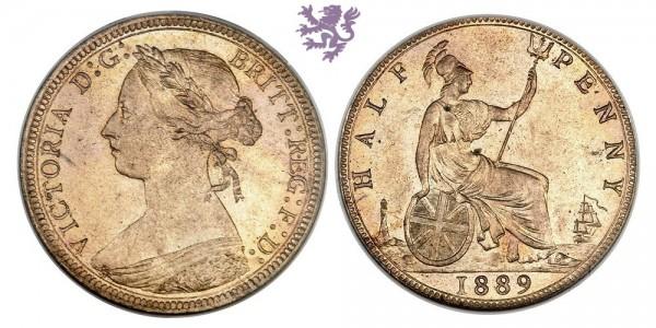 1/2 Penny, 1889.